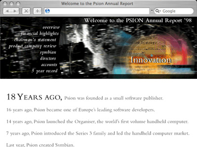 Psion Annual Report Website
